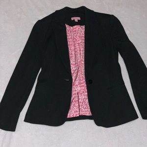 Lilly Pulitzer hot pink lined blk 1 button blazer
